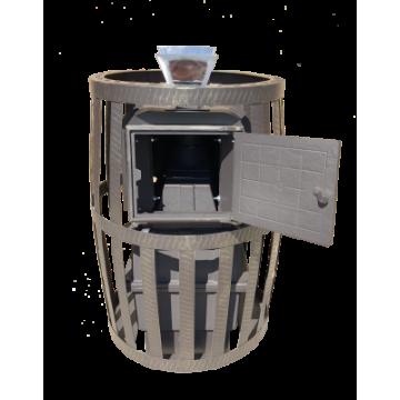 Банная печь чугунная Воевода 20 ДТ-3 (сетка, закрытая каменка, короткая топка)