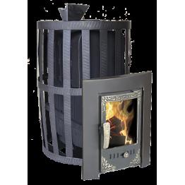 Банная печь-камин чугунная Воевода 20 (сетка, закрытая каменка)