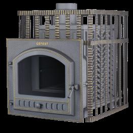 Банная печь чугунная Гефест ПБ-01ПС-ЗК (панорама, сетка, закрытая каменка)