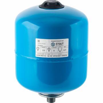 Мембранный расширительный бак, гидроаккумулятор  8 л. вертикальный (цвет синий) STOUT STW-0001-000008