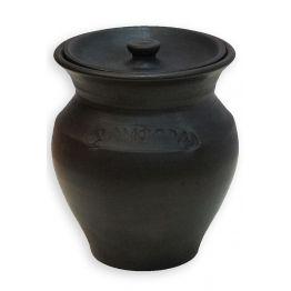 Керамический чугунок с крышкой, 2 л  для пост-томления в остывающем тандыре с эффектом «Русской печи»