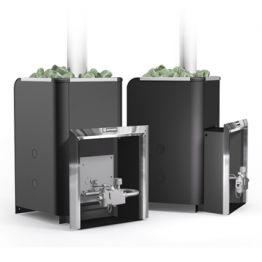 Банная печь Ермак Уралочка 24 с газовой автоматикой черный металл