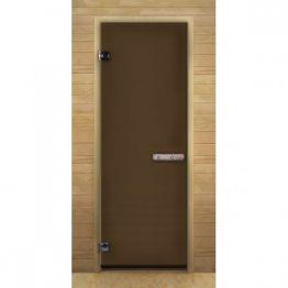 Дверь стекло  Бронза Матовая, 1900х700мм, (6мм, 2 петли 716) (Магнит) (ХВОЯ)