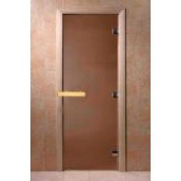 Дверь стекло  Бронза Матовая 1900х700мм (8мм, 3 петли 716, Магнит) (БУК)